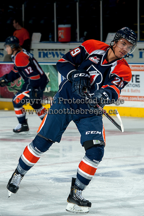 KELOWNA, CANADA -FEBRUARY 1: Edson Harlacher D #29 of the Kamloops Blazers takes a shot on net during warm up against the Kelowna Rockets on February 1, 2014 at Prospera Place in Kelowna, British Columbia, Canada.   (Photo by Marissa Baecker/Getty Images)  *** Local Caption *** Edson Harlacher;