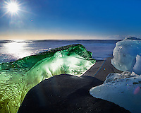 Alien Green Turtle Coming Ashore on a Black Sand Beach near Jökulsárlón Lagoon in Southeast Iceland. Image taken with a Nikon Df camera and 24 mm f/1.4G lens + Singh-Ray 10 stop neutral density filter (ISO 100, 24 mm, f/16, 13 sec).