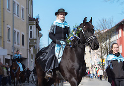 02.04.2018, Traunstein, GER, Georgi Ritt Traunstein 2018, im Bild Trachtengruppe mit Bauernreiter // during the traditionell Georgi Ritt on Easter Monday in. in Traunstein, Germany on 2018/04/02. EXPA Pictures © 2018, PhotoCredit: EXPA/ Erst Wukits