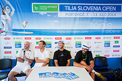 Jamie Delgado of Great Britain, Gilles Muller of Luxembourg,Gregor Repina and Matjaz Jurman of Slovenia during Day 3 of ATP Challenger Tilia Slovenia Open 2014 on July 9, 2014 in  Tennis stadium SRC Marina, Portoroz / Portorose, Slovenia. Photo by Vid Ponikvar / Sportida