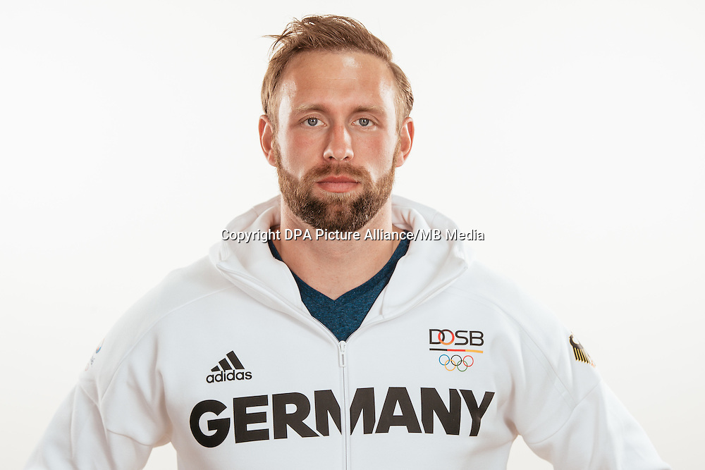 Robert Harting poses at a photocall during the preparations for the Olympic Games in Rio at the Emmich Cambrai Barracks in Hanover, Germany, taken on 21/07/16 | usage worldwide