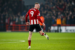 Oliver McBurnie of Sheffield United celebrates scoring a goal to make it 3-3 after it has been reviewed by VAR - Mandatory by-line: Robbie Stephenson/JMP - 24/11/2019 - FOOTBALL - Bramall Lane - Sheffield, England - Sheffield United v Manchester United - Premier League