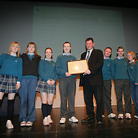 Members of Transition year St Caimins being presenteded with their Young Citizen Award by Cllr Pat Hayes, Cathoirleach of Clare County Development Board in Glor<br /> Pic.Brian Gavin/Press 22