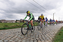 Rachele Barbieri sppeds across the cobbles on the outskirts of Gooik - Pajot Hills Classic 2016, a 122km road race starting and finishing in Gooik, on March 30th, 2016 in Vlaams Brabant, Belgium.