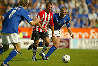 Photo Aidan Ellis.<br />Leicester City v Southampton (FA Barclaycard Premiership) 16/08/2003.<br />Southampton's Kevin Phillips lines up his wonder striker to put his team back in the game.