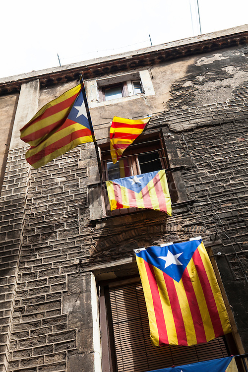 Catalonia: A New European State. Catalan Independence flags hanging on buildings in Barcelona.