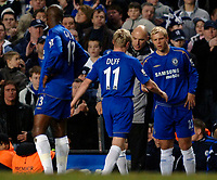 Photo: Daniel Hambury.<br />Chelsea v Liverpool. The Barclays Premiership. 05/02/2006.<br />Chelsea's Damien Duff leaves the pitch moments after coming on as a substitute for Eidur Gudjohnsen.