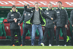 13.12.2015, WWK Arena, Augsburg, GER, 1. FBL, FC Augsburg vs Schalke 04, 16. Runde, im Bild Schlussjubel, Chef-Trainer Markus Weinzierl (FC Augsburg),Co-Trainer Wolfgang Beller (FC Augsburg), Co-Trainer Tobias Zellner (FC Augsburg), Tortwarttrainer Zdenko Miletic (FC Augsburg), // during the German Bundesliga 16th round match between FC Augsburg and Schalke 04 at the WWK Arena in Augsburg, Germany on 2015/12/13. EXPA Pictures © 2015, PhotoCredit: EXPA/ Eibner-Pressefoto/ Kolbert<br /> <br /> *****ATTENTION - OUT of GER*****