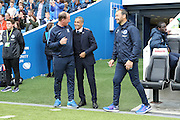 Brighton Manager, Chris Hughton and Preston North End manager Simon Grayson during the EFL Sky Bet Championship match between Brighton and Hove Albion and Preston North End at the American Express Community Stadium, Brighton and Hove, England on 15 October 2016.