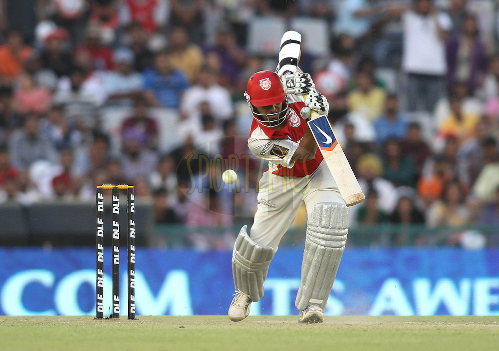 Paul Valthaty of the Kings XI Punjab cover drives a delivery during match 9 of the Indian Premier League ( IPL ) Season 4 between the Kings XI Punjab and the Chennai Super Kings held at the PCA stadium in Mohali, Chandigarh, India on the 13th April 2011..Photo by Shaun Roy/BCCI/SPORTZPICS