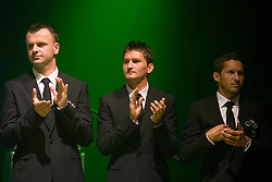 Suad Filekovic, Andraz Kirm and Andrej Komac at official presentation of Slovenian National Football team for World Cup 2010 South Africa, on May 21, 2010 in Congress Center Brdo at Kranj, Slovenia. (Photo by Vid Ponikvar / Sportida)