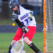 5/11/09 -- TOPSHAM, Maine.  Mt. Ararat's Evelyn Dickinson was a stone wall in the net, stopping one of several direct shots from short range.   Mt Aarat went on to win over Cony by a score of  --   Photo by Roger S. Duncan.