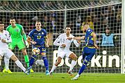 Kosovo midfielder Valon Berisha shoots towards the goal during the UEFA European 2020 Qualifier match between Kosovo and England at the Fadil Vokrri Stadium, Pristina, Kosovo on 17 November 2019.