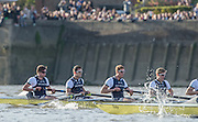 London, Great Britain, OUBC Bow Four, left to right. Will GEFFEN,  James O'CONNOR, Henry GOODIER, Tom SWARTZ,. during the The BNY Mellon Men's Boat Race, Championship Course. Tideway Week, Putney to Mortlake. ENGLAND. <br /> <br /> Saturday  11/04/2015 <br /> <br /> [Mandatory Credit; Peter Spurrier/Intersport-images]<br /> <br /> OUBC. <br /> Will GEFFEN,  James O'CONNOR, Henry GOODIER, Tom SWARTZ, Jamie COOK, Mike DISANTO, Sam O'CONNER, Constantine LOULOUDIS and cox Will HAKIM<br /> <br /> CUBC.<br /> Jasper HOLST, Luke JACKET, Joshua HOOPER, Alexander LEICHTER, William WARR, Matthew JACKSON, Ben RUBLE, Henry HOFFSTOT and Cox Ian MIDDLETON.