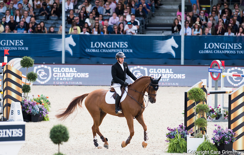 Eric Lamaze (CAN) rides Chacco Kid in the Grand Prix during the Longines Global Champions Tour, August 6 2017 London UK