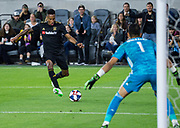 LAFC midfielder Mark-Anthony Kaye (14) attempts to score against FC Dallas goalkeeper Jesse Gonzalez (1) during a MLS soccer match in Los Angeles, Thursday, May 16, 2019. LAFC defeated FC Dallas 2-0.  (Ed Ruvalcaba/Image of Sport)