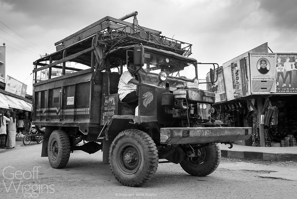 Vintage truck still in widespread use today in Myanmar. Modified from a WW2 ex British army Canadian Military Pattern (CMP) Chevrolet C60 truck. Hsipaw, Myanmar