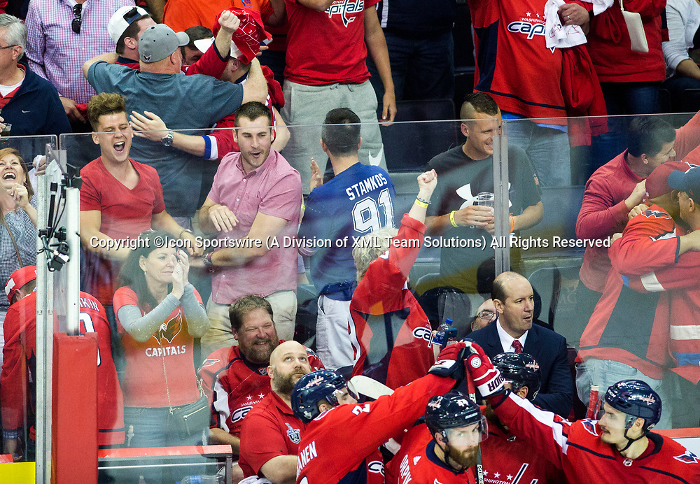 WASHINGTON, DC - MAY 21: Caps fans react to the teams score in the second period during game 6 of the NHL Eastern Conference  Finals between the Washington Capitals and the Tampa Bay Lightning, on May 21, 2018, at Capital One Arena, in Washington D.C.<br /> (Photo by Tony Quinn/Icon Sportswire)