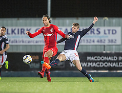 Rangers Bilel Moshsni and Falkirk's Rory Loy. Falkirk 1 v 1 Rangers, Scottish Championship game played 27/2/2014 at The Falkirk Stadium .