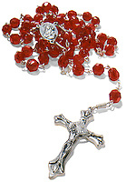 Red rosary on white background