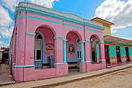 Pink chess club in Velasco, Holguin, Cuba.