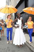 Model outside Rebecca Minkoff during New York Fashion Week