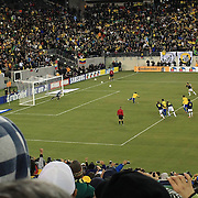 The penalty kick that has been described as the worst penalty kick ever?Neymar, Brazil, stubs his kick on a freshly assembled grass surface and sends the ball high into the stand behind the goal during the Brazil V Colombia International friendly football match at MetLife Stadium which ended in a 1-1 draw. New Jersey. USA. 14th November 2012.