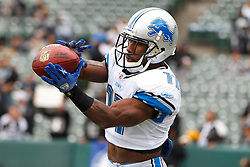 Dec 18, 2011; Oakland, CA, USA; Detroit Lions wide receiver Stefan Logan (11) warms up before the game against the Oakland Raiders at O.co Coliseum. Detroit defeated Oakland 28-27. Mandatory Credit: Jason O. Watson-US PRESSWIRE