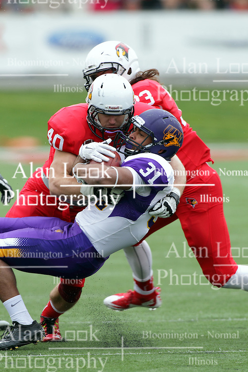 03 October 2015:  Alex Donnelly(40) completes a tackle on Michael Malloy(31). NCAA FCS Football between Northern Iowa Panthers and Illinois State Redbirds at Hancock Stadium in Normal IL (Photo by Alan Look)