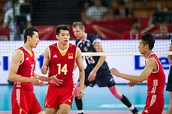 13.09.2014, Centennial Hall, Breslau, POL, FIVB WM, Finnland vs China, 2. Runde, Gruppe F, im Bild Chiny radosc Weijun Zhong china #7 Jingtao Xu china #14 // On the picture: China gladness Weijun Zhong china #7 Jingtao Xu china #14 during the FIVB Volleyball Men's World Championships 2nd Round Pool F Match beween Finland and China at the Centennial Hall in Breslau, Poland on 2014/09/13. EXPA Pictures © 2014, PhotoCredit: EXPA/ Newspix/ Sebastian Borowski<br /> <br /> *****ATTENTION - for AUT, SLO, CRO, SRB, BIH, MAZ, TUR, SUI, SWE only*****