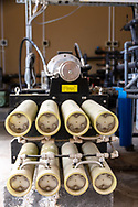 Machines used as part of the desalination process, at The Sahara Forest Project on the outskirts of Aqaba, on Jordan's southern Red Sea coastline. The farm uses desalinated sea water and greenhouses to sustainably farm crops in land that was once aris desert.