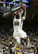 26 NOVEMBER 2007: Iowa forward Jarryd Cole (50) dunks the ball in Wake Forest's 56-47 win over Iowa at Carver-Hawkeye Arena in Iowa City, Iowa on November 26, 2007.