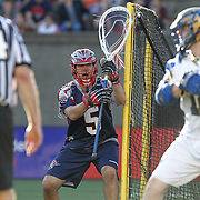 Jordan Burke #5 of the Boston Cannons is seen during the game at Harvard Stadium on May 17, 2014 in Boston, Massachuttes. (Photo by Elan Kawesch)