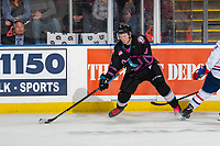 KELOWNA, BC - SEPTEMBER 21:  Sean Comrie #3 of the Kelowna Rockets passes the puck against the Spokane Chiefs  at Prospera Place on September 21, 2019 in Kelowna, Canada. (Photo by Marissa Baecker/Shoot the Breeze)