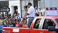 COOPERSTOWN, NY - JULY 26: Hall of Famer Johnny Bench entertained the crowd, posing for and taking photos of the fans during the annual Parade of Legends down Main Street in Cooperstown, New York on July 26, 2014.