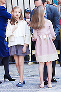 Princess Leonor and Princess Sofia attended the Easter Mass at the Cathedral of Palma de Mallorca on April 5, 2015 in Palma de Mallorca, Spain.