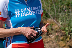 Blood sting measurement before the training on the beautiful mountain bike track around Radio Kootwijk, the first serious step was taken during this Corona crisis for La Vuelta Soria & Navarra at the Veluwe on June 01, 2020 in Radio Kootwijk, Netherlands