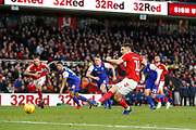 Goal scored by Middlesbrough forward Jordan Hugill (11) from the penalty spot during the EFL Sky Bet Championship match between Middlesbrough and Ipswich Town at the Riverside Stadium, Middlesbrough, England on 29 December 2018.