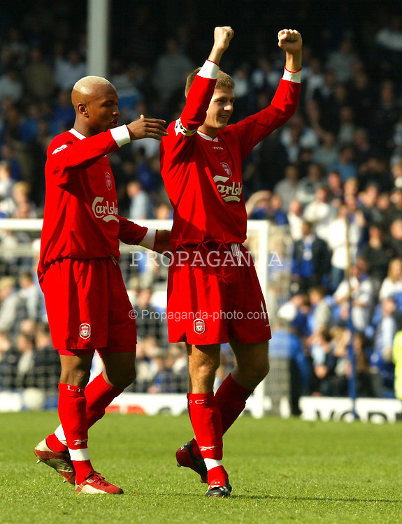 LIVERPOOL, ENGLAND - Saturday, April 19, 2003: Liverpool's Stephen Gerrard and El-Hadji Diouf celebrate a 2-1 victory over Everton in the Merseyside Derby Premiership match at Goodison Park. (Pic by David Rawcliffe/Propaganda)