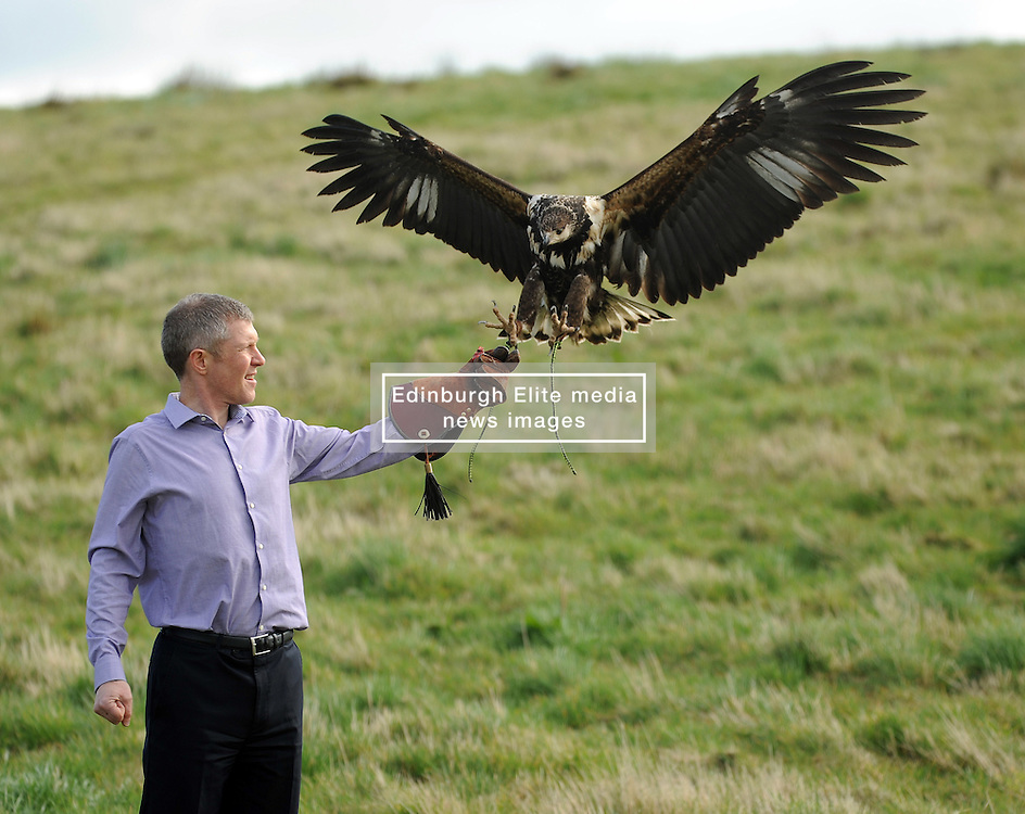 Willie Rennie, Elite Falconry, Cluny, 7-4-2016<br /> <br /> Willie seen with Riply the African Fish Eagle<br /> <br /> (c) David Wardle | Edinburgh Elite media