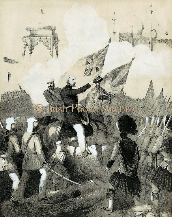 Indian Mutiny 1857-1859, also known as the Sepoy Mutiny or the Great War of Independence: Robert Cornelis Napier (1810-90) British military commander, making triumphant entry into Delhi. Cover of sheet music of 'The Battle March of Delhi'. Tinted lithograph c1860.