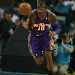 Leandro Barbosa #10 of the Phoenix Suns dribbles down court on February 26, 2008 at the New Orleans Arena in New Orleans, Louisiana. The New Orleans Hornets defeated the Phoenix Suns 120-103.