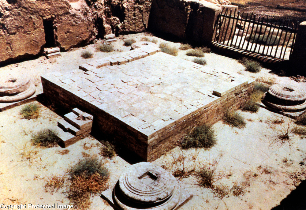 The staircase led to a courtyard where a Zoroastrian fire altar sat on a raised platform with columns at each corner where worshipers circumambulated. This was in marked contrast to the Hellenistic temples at Ai Khanoum where the main deity figure was placed at the back of a long hall. <br />