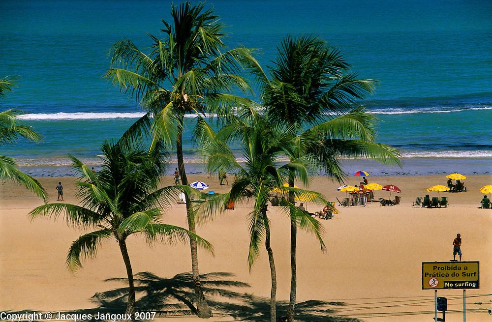 Boa Viagem Beach with bilingual Portuguese - English sign saying No Surfing, Recife, Pernambuco, Brazil