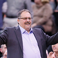 25 January 2016: Detroit Pistons head coach Stan Van Gundy reacts during the Detroit Pistons 95-92 victory over the Utah Jazz, at the Vivint Smart Home Arena, Salt Lake City, Utah, USA.