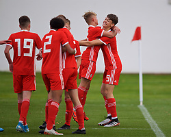 WREXHAM, WALES - Wednesday, October 30, 2019: Wales' Christopher Popov (R) celebrates scoring the third goal with team-mate Benjamin Purcell during the 2019 Victory Shield match between Wales and Republic of Ireland at Colliers Park. (Pic by David Rawcliffe/Propaganda)