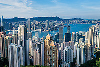 Central, Hong Kong, China- June 2 , 2014: Hong Kong Bay and Central skyline cityscape