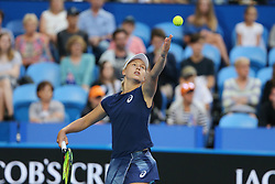 PERTH, Jan. 5, 2018  Daria Gavrilova of Australia serves during a match between Germany and Australia at Hopman Cup mixed teams tennis tournament in Perth, Australia, on Jan. 5, 2018. (Credit Image: © Bai Xuefei/Xinhua via ZUMA Wire)
