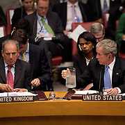 U.S. President George W. Bush (R) offers water to Britain's Minister of State at the Foreign and Commonwealth Office Kim Howells during a UN Security Council meeting on Africa at the UN  Tuesday, September 25, 2007 in New York City...Photo by Khue Bui