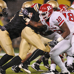 Oct 23, 2009; West Point, N.Y., USA; Rutgers tight end D.C. Jefferson (10) blocks for an extra point attempt during Rutgers' 27 - 10 victory over Army at Michie Stadium.
